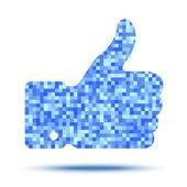 Pixelated thumb up — Stock Vector
