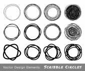 Set of Hand Drawn Scribble Circles — Stock Vector