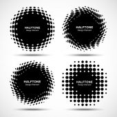 Set of Abstract Halftone Design Elements — Stock Vector