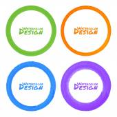 Set of Watercolor Colorful Grunge Circle Stains — Stock Vector