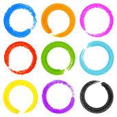 Conjunto de acuarela grunge coloridas círculo manchas — Vector de stock