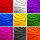 Set of 9 Colorful Wavy backgrounds. — Stock Vector