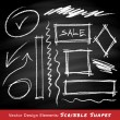 Scribble shapes hand drawn in chalk on chalkboard background — Stock Vector #56523675