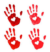 Set of Hand print with heart icon — Stockvector