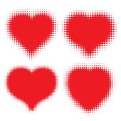 Set of Red Hearts Halftone logo — Stock Vector