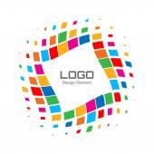 Abstract Bright Rainbow Halftone Logo — Stock Vector
