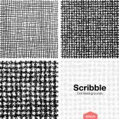 Set of Scribble Cell Pattern Backgrounds Hand Drawn in Pencil — Stock Vector