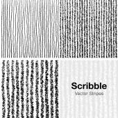 Set of Scribble Lines Patterns Hand Drawn in Pencil — Stock Vector