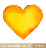 Yellow - Orange Watercolor Heart — Διανυσματικό Αρχείο