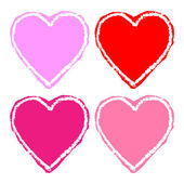 Set of colorful grunge hearts — Stock Vector
