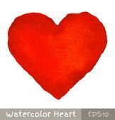 Corazón rojo acuarela — Vector de stock