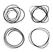 Conjunto de círculos de garabatos dibujados a mano — Vector de stock