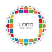 抽象的な明るい虹ハーフトーン ロゴ — ストックベクタ