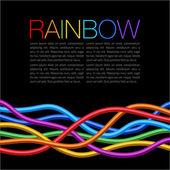 Rainbow Twisted Bright Vibrant Wares on black background — Stock vektor