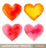 Set of Colorful Watercolor Hearts — Stock Vector