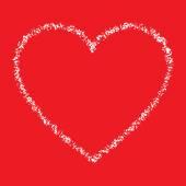White Hand Drawn Thin Contour Grunge Heart logo — Stock Vector