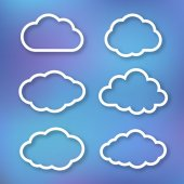Set of clouds, linear illustration on bright blue blurred background — Stock Vector