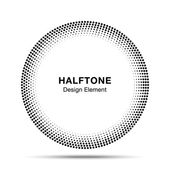 Black Abstract Halftone Circle Logo Design Element — Wektor stockowy
