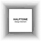 Black Abstract Halftone Square Frame Background — Stock Vector