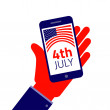 Fourth july American Independence day.  Smartphone on hand — Stock Vector #74089833