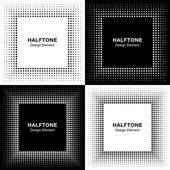 Set of Abstract Halftone Square Frame Backgrounds — Stock Vector