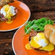 Постер, плакат: English muffin with bacon egg benedict