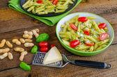 Fresh italien pasta with basil — Stock Photo