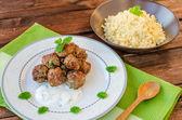 Beef meatballs with cilantro — Stock Photo