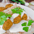 Chickpea falafel with lebanese bread — Stock Photo #52830777