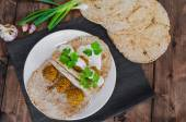 Chickpea falafel with lebanese bread — Stock Photo
