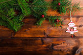 Christmas ornament with pine needles — Stock Photo