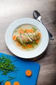 Chicken broth with fresh vegetables — Stock Photo