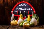 Halloween still life of pumpkins, inscription, shadows — Stock Photo