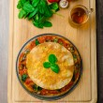 Vegetarian tortilla and bolognese sauce — Stock Photo #55103627