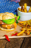 Homemade avocado burger with home spicy fries — Stock Photo