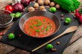Hot salsa tomato with spring onion and red pepper — Stock Photo