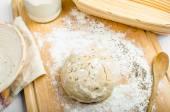 Making bread home in a basket - scuttle — Stockfoto