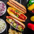 Постер, плакат: All beef dogs variantion of hot dogs