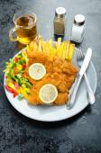 Schnitzel with french fries — Stock Photo