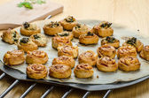 Canapes puff pastry — Stock Photo