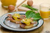 Eggs bvenedict with chives — Stok fotoğraf