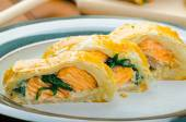 Salmon baked in puff pastry — Foto Stock