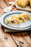 Salmon baked in puff pastry — Stok fotoğraf