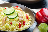 Couscous with grilled chicken meat and vegetables — Stock Photo