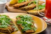 Breaded eggplant parmesan and arugula — Stok fotoğraf