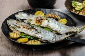 Grilled Trout with Mediterranean vegetables — Stock Photo