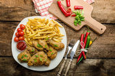 Fried chicken, chilli fries and dip — Stock Photo