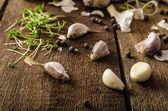 Domestic bio garlic - Czech, spices and fresh microgreens Domestic bio garlic — Stock Photo