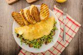 Paddestoel en Microgreen Omelet — Stockfoto