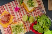 Reuben sandwich z kapusta, wołowiny i pikantny sos — Zdjęcie stockowe